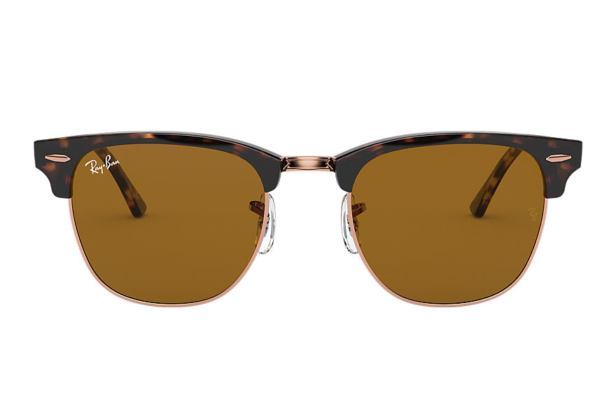 Ray-Ban Sunglasses CLUBMASTER CLASSIC Shiny Havana with Brown Classic B-15 lens