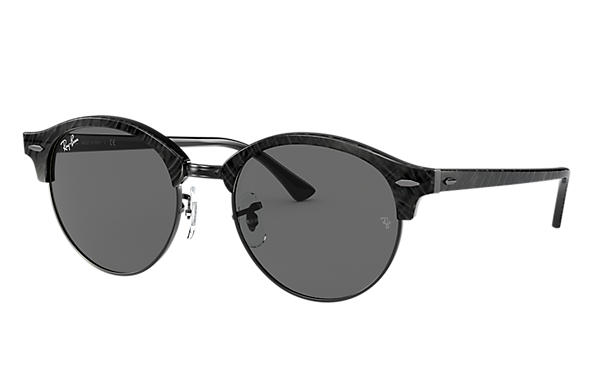 Ray-Ban Sunglasses CLUBROUND MARBLE Wrinkled Black with Dark Grey Classic lens