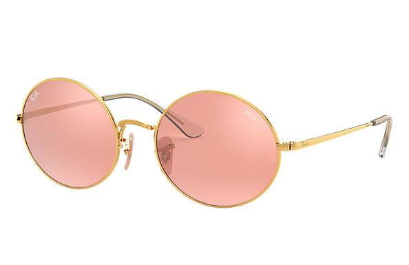 Ray-Ban Sunglasses OVAL 1970 MIRROR EVOLVE Shiny Gold with Pink/Grey Mirror lens