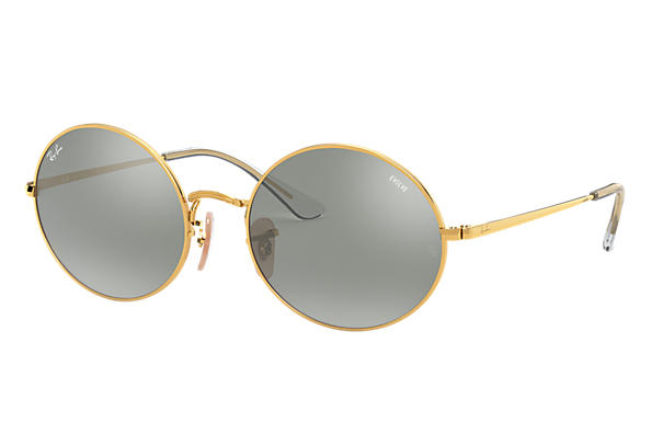 Ray-Ban Sunglasses OVAL 1970 MIRROR EVOLVE Shiny Gold with Grey/Blue Mirror lens