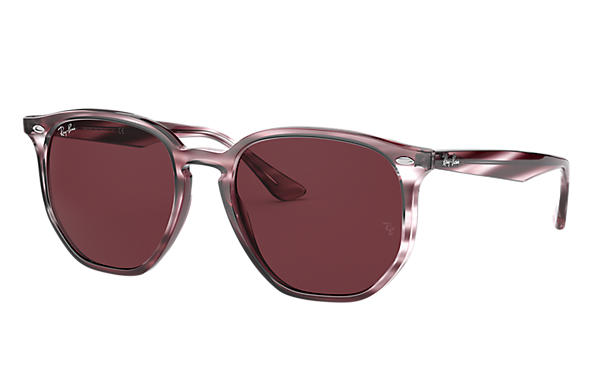 Ray-Ban Sunglasses RB4306 Striped Bordeaux Havana with Dark Violet Classic lens