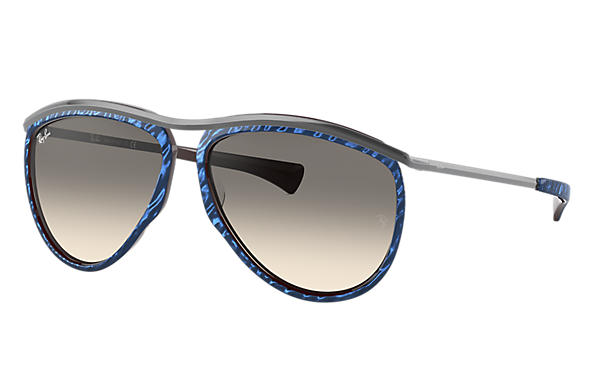 Ray-Ban Sunglasses OLYMPIAN AVIATOR Wrinkled Blue with Light Grey Gradient lens