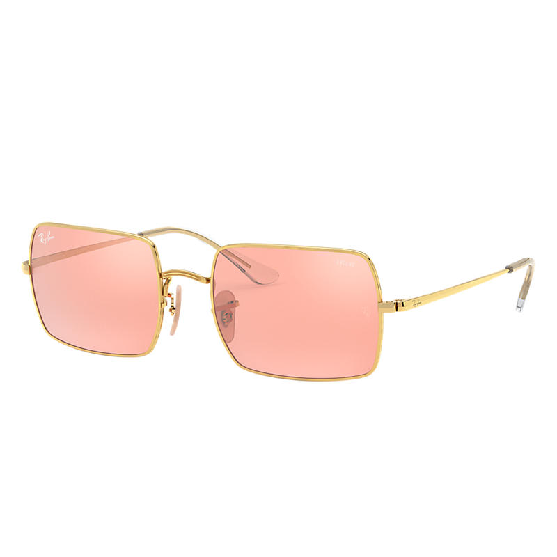 Ray Ban RECTANGLE 1969 MIRROR EVOLVE GOLD, PINK LENSES - RB1969