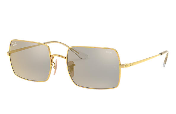Ray-Ban Sunglasses RECTANGLE 1969 MIRROR EVOLVE Blank guld med Dark Grey/Gold Spegel lins