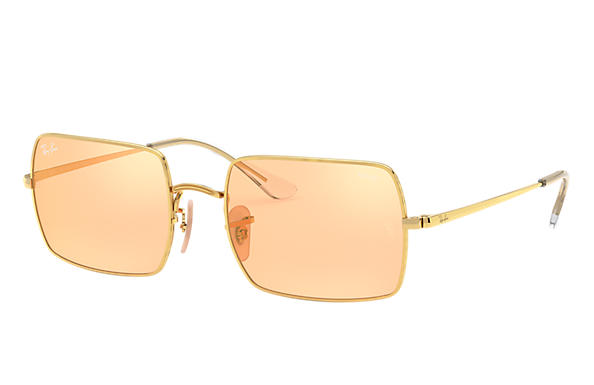 Ray-Ban Lunettes-de-soleil RECTANGLE 1969 MIRROR EVOLVE Or brillant avec verres Orange/Gold Miroir
