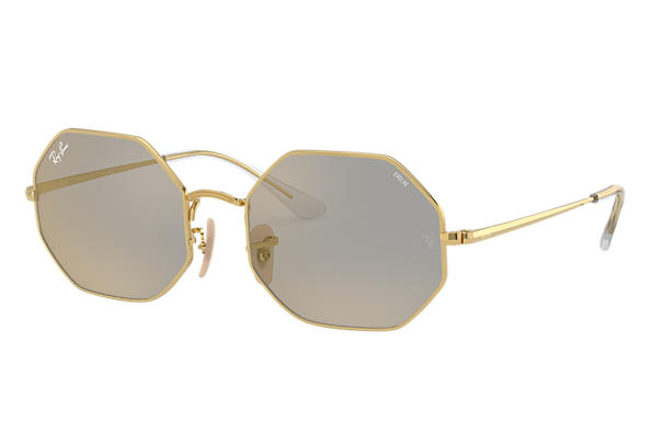 Ray-Ban Sunglasses OCTAGON 1972 MIRROR EVOLVE Shiny Gold with Dark Grey/Gold Mirror lens