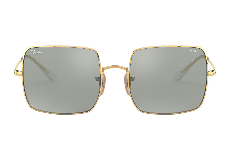 Ray-Ban Sunglasses SQUARE 1971 MIRROR EVOLVE Blank guld med Grey/Blue Spegel lins
