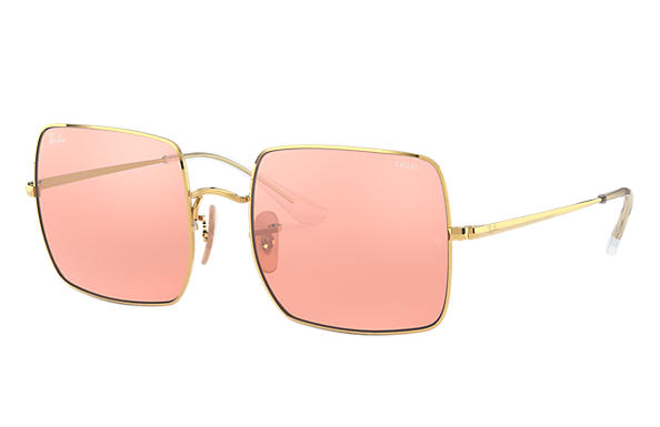 Ray-Ban Sunglasses SQUARE 1971 MIRROR EVOLVE Shiny Gold with Pink/Grey Mirror lens