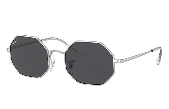 Ray-Ban Sunglasses OCTAGON JUNIOR Shiny Silver with Grey Classic lens