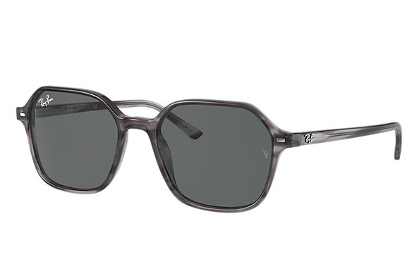 Ray-Ban Sunglasses JOHN Striped Grey with Dark Grey Classic lens