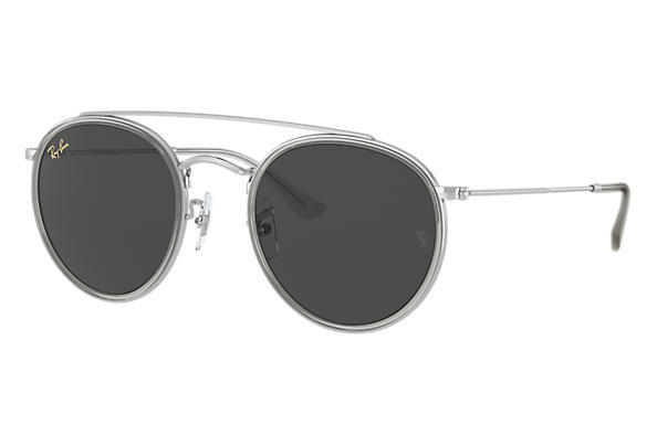 Ray-Ban Sunglasses ROUND DOUBLE BRIDGE LEGEND GOLD Shiny Silver with Dark Grey Classic lens