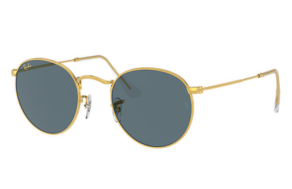 Ray-Ban Sunglasses ROUND METAL LEGEND GOLD Shiny Gold with Blue Classic lens