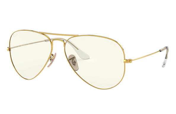 Ray-Ban Aviator Clear Evolve RB3025 Shiny Gold - Metal - Grey Lenses -  0RB3025001/5F62 | Ray-Ban® Canada