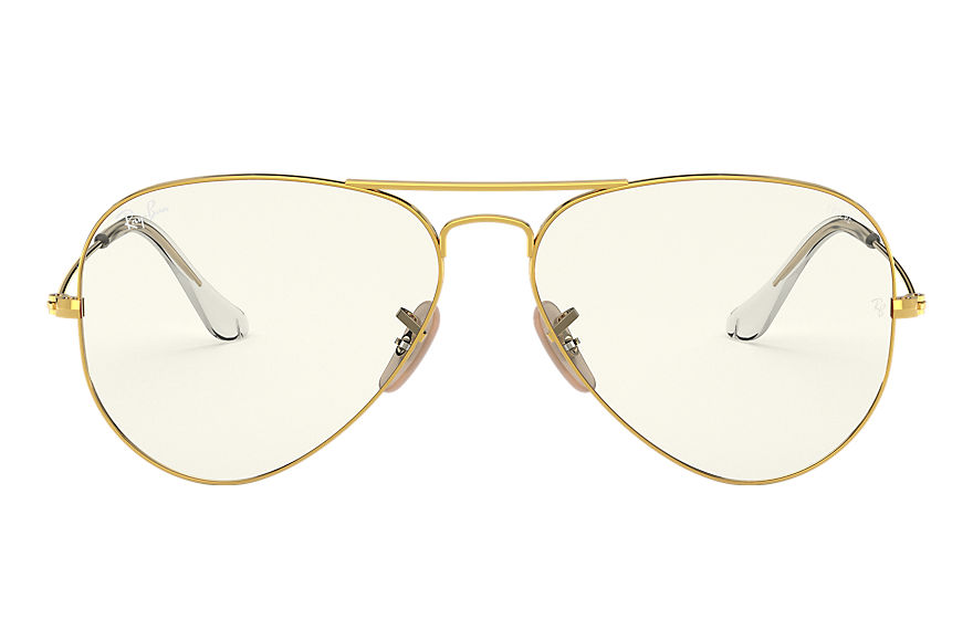 Ray-Ban Sunglasses AVIATOR CLEAR EVOLVE Shiny Gold with Grey Clear Photochromic lens