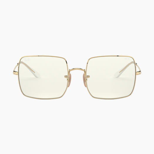 Ray-Ban Sunglasses SQUARE 1971 CLEAR EVOLVE Shiny Gold with Grey Clear Photochromic lens