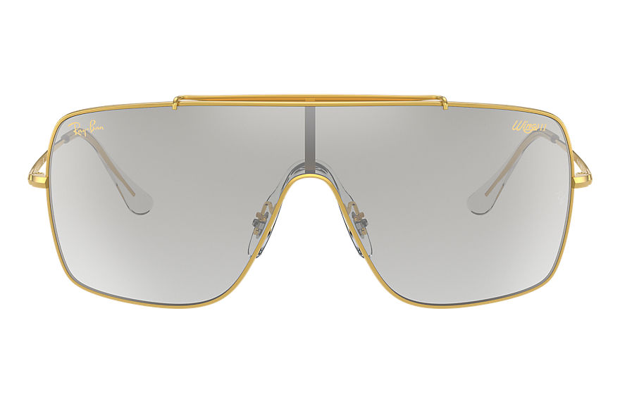 Ray-Ban Sunglasses WINGS II LEGEND LOGO Shiny Gold with Clear Silver Gradient lens