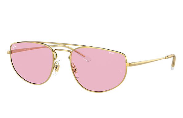 Ray-Ban Sunglasses RB3668 Shiny Gold with Pink Photochromic lens