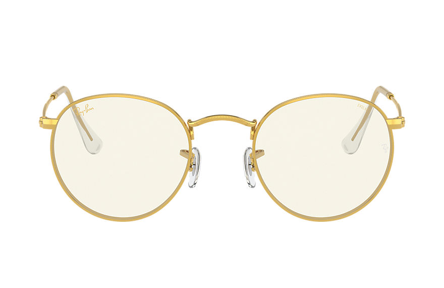 Ray-Ban Sunglasses ROUND BLUE-LIGHT CLEAR EVOLVE Gold with Grey Clear Photocromic with Blue-Light Filter lens