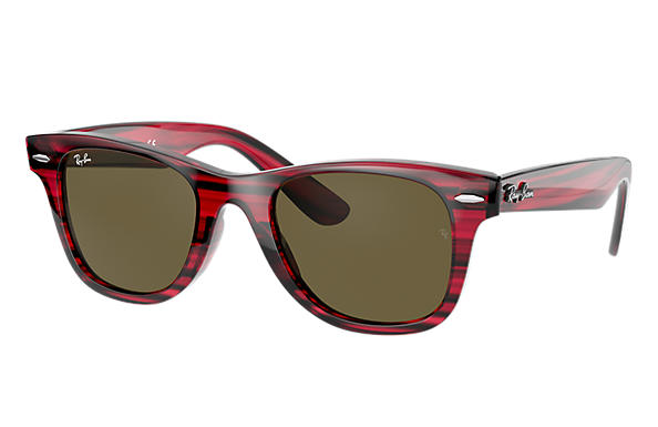 Ray-Ban Sunglasses WAYFARER JUNIOR Striped Red with Brown Classic lens