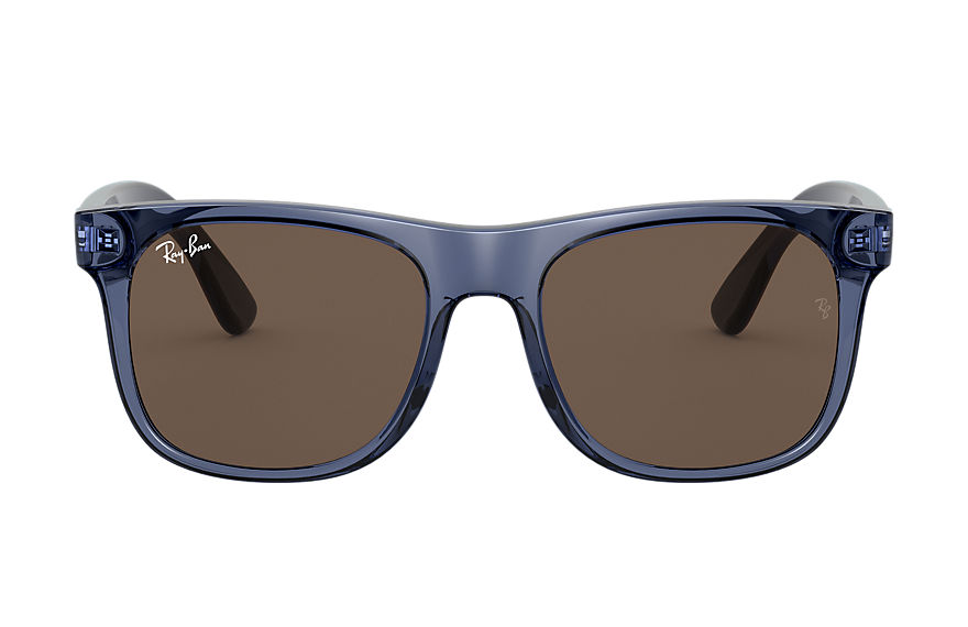 Ray-Ban Sunglasses RJ9069S Shiny Transparent Blue with Dark Brown Classic lens