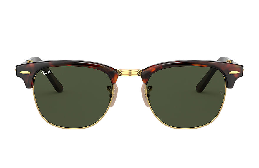 Ray-Ban Sunglasses CLUBMASTER FOLDING RELOADED Tortoise with Green Classic G-15 lens