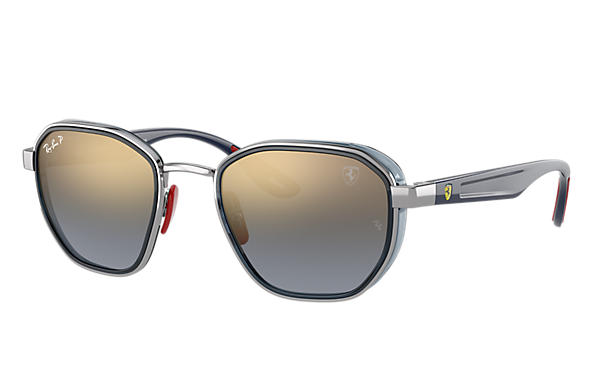 Ray-Ban Sunglasses RB3674M SCUDERIA FERRARI COLLECTION Shiny Gunmetal with Blue Gradient Mirror Chromance lens