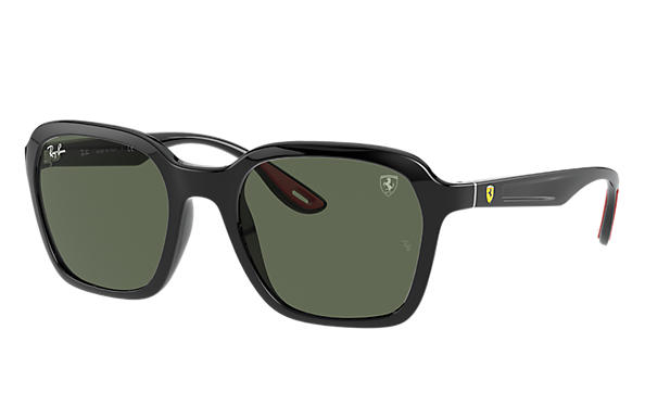 Ray-Ban Sunglasses RB4343M SCUDERIA FERRARI COLLECTION Shiny Black with Green Classic lens
