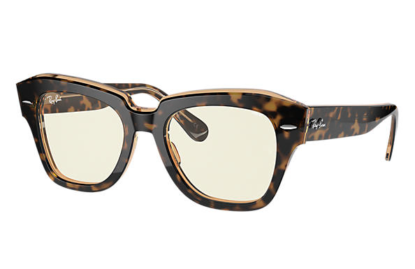 Ray-Ban 0RB2186-STATE STREET BLUE-LIGHT CLEAR EVOLVE Schildpad SUN