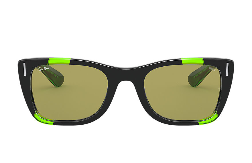 Ray-Ban Lunettes-de-soleil CARIBBEAN GREEN FLUO Black and Green Fluo avec verres Vert Photochromiques