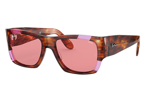 Ray-Ban Lunettes-de-soleil NOMAD PINK FLUO Striped Havana and Pink Fluo avec verres Rose Photochromiques