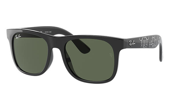 Ray-Ban Sunglasses RJ9069S JUNIOR JUSTIN MICKEY D20 Black with Dark Green Classic lens