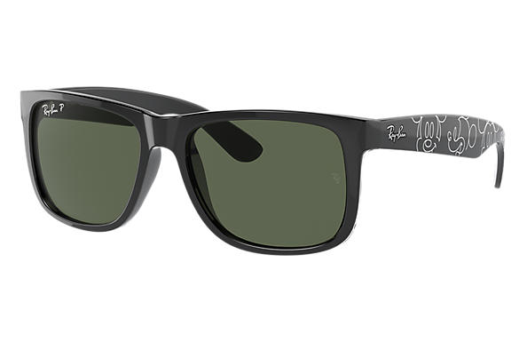 Ray-Ban Sunglasses RB4165 JUSTIN MICKEY D20 Black with Dark Green Classic lens