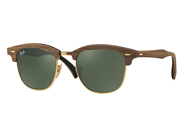 b8987e6ab5721 Ray-Ban Clubmaster Wood RB3016M Brown - Wood - Green Prescription ...