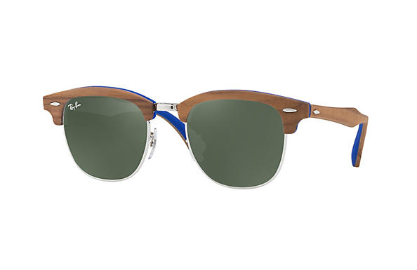 Ray-Ban 0RB3016M-CLUBMASTER WOOD Light Blue; Brown ROX_FRAME