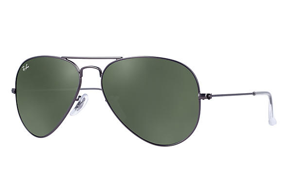 6a322b1a319 Ray-Ban Aviator RB3025 Gunmetal - Metal - Green Prescription Lenses ...