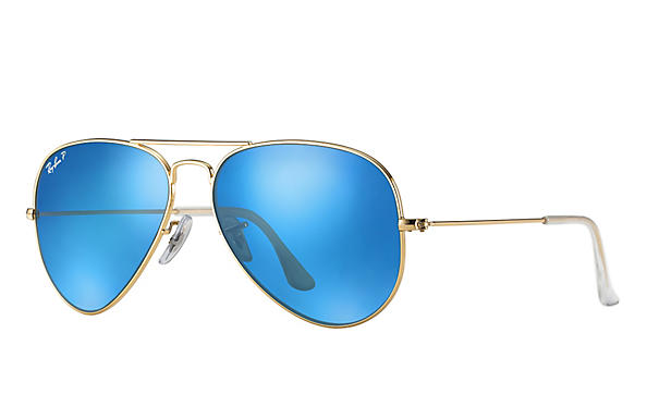 Ray-Ban  prescription sunglasses RB3025 UNISEX P043 aviator gold RX_805289602057?roxLensPartNumber=Blue_Flash_Polar_SV