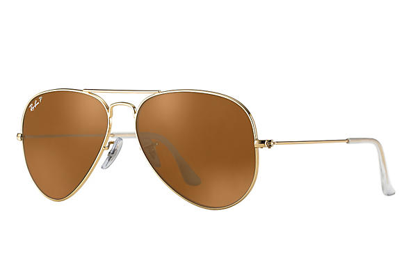 Ray-Ban  prescription sunglasses RB3025 UNISEX P043 aviator gold RX_805289602057?roxLensPartNumber=Brown_Classic_B 15_Polar_SV