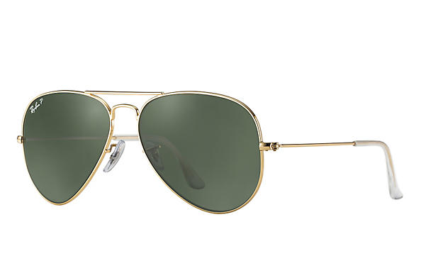 Ray-Ban  prescription sunglasses RB3025 UNISEX P043 aviator gold RX_805289602057?roxLensPartNumber=Green_Classic_G 15_Polar_SV