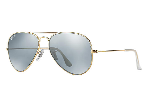 Ray-Ban  prescription sunglasses RB3025 UNISEX P043 aviator gold RX_805289602057?roxLensPartNumber=Silver_Flash_Polar_SV