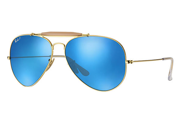 Ray-Ban  prescription sunglasses RB3029 UNISEX P003 outdoorsman ii gold RX_805289621126?roxLensPartNumber=Blue_Flash_Polar_SV