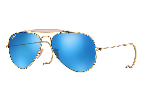 Ray-Ban  prescription sunglasses RB3030 MALE P003 outdoorsman gold RX_805289602163?roxLensPartNumber=Blue_Flash_Polar_SV
