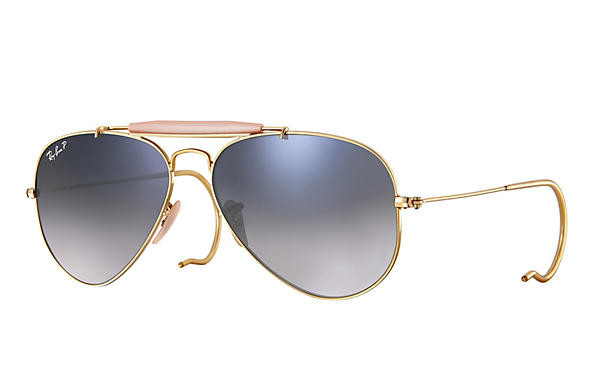 Ray-Ban  prescription sunglasses RB3030 MALE P003 outdoorsman gold RX_805289602163?roxLensPartNumber=Blue_Grey_Gradient_Polar_SV