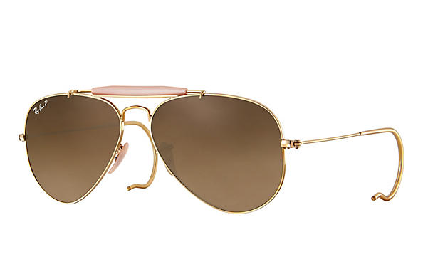 Ray-Ban  prescription sunglasses RB3030 MALE P003 outdoorsman gold RX_805289602163?roxLensPartNumber=Brown_Gradient_Polar_SV