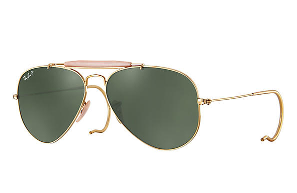 Ray-Ban  prescription sunglasses RB3030 MALE P003 outdoorsman gold RX_805289602163?roxLensPartNumber=Green_Classic_G 15_Polar_SV
