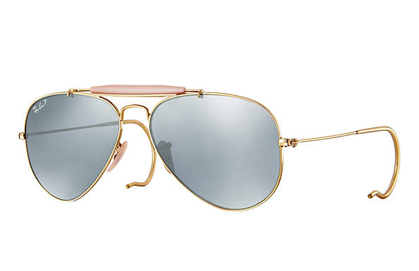 Ray-Ban  prescription sunglasses RB3030 MALE P003 outdoorsman gold RX_805289602163?roxLensPartNumber=Silver_Flash_Polar_SV