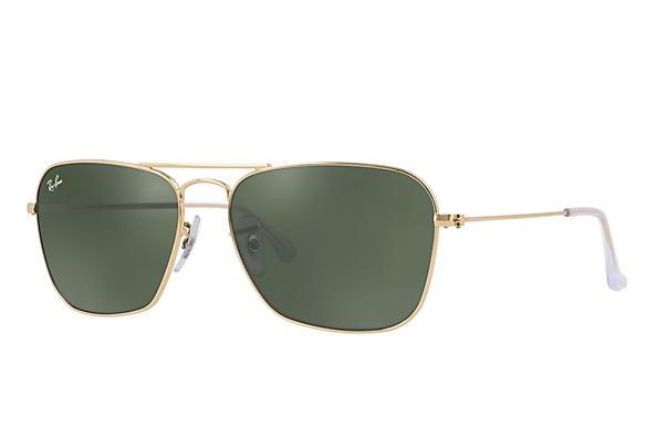 3450e48a442869 Ray-Ban Caravan RB3136 Gold - Metal - Green Prescription Lenses ...