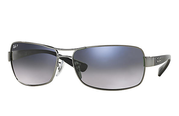 Ray-Ban  prescription sunglasses RB3379 MALE P007 rb3379 gunmetal RX_805289218746?roxLensPartNumber=Blue_Grey_Gradient_Polar_SV