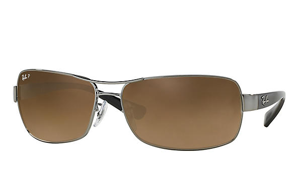 Ray-Ban  prescription sunglasses RB3379 MALE P007 rb3379 gunmetal RX_805289218746?roxLensPartNumber=Brown_Gradient_Polar_SV