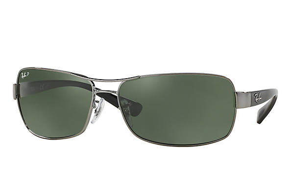 Ray-Ban  prescription sunglasses RB3379 MALE P007 rb3379 gunmetal RX_805289218746?roxLensPartNumber=Green_Classic_G 15_Polar_SV