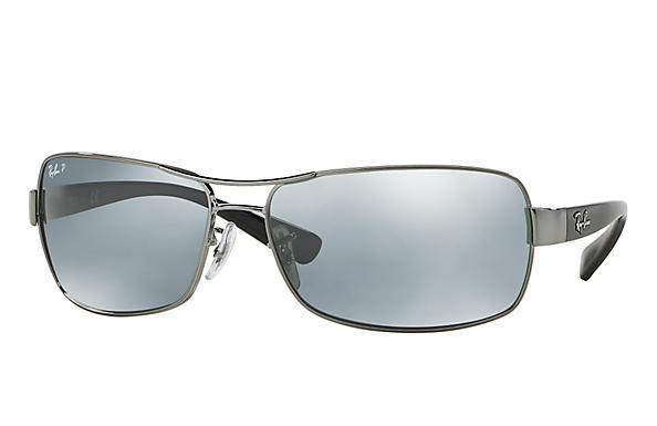 Ray-Ban  prescription sunglasses RB3379 MALE P007 rb3379 gunmetal RX_805289218746?roxLensPartNumber=Silver_Flash_Polar_SV